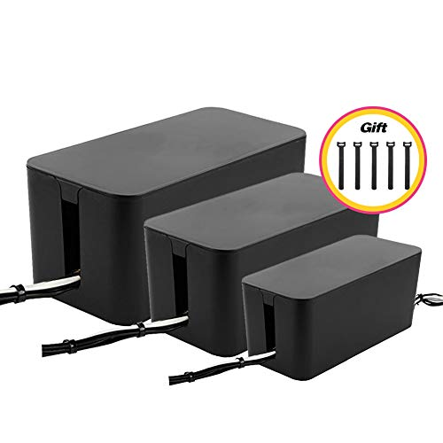 Cable Management Boxes Organizer,Large Storage Holder for Desk, TV, Computer, USB Hub, System to Cover and Hide & Power Strips & Cords [Set of Three] (Black) (Large Box Cable Organizer)