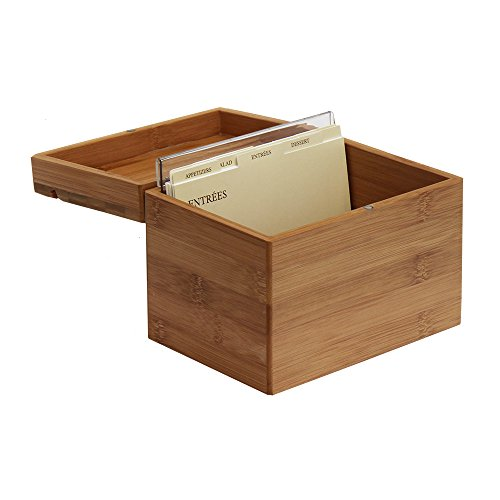 Oceanstar Bamboo Recipe Box with Divider, Natural (And Recipe Cards Box)