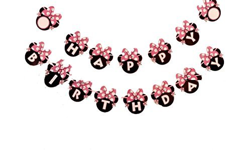 (Kids Birthday Party Decoration For Girls,Minnie Mouse Inspired Happy Birthday Banner Pink by Alemon)
