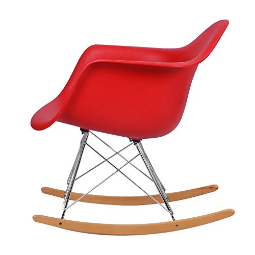 Asense Eames Mid Century Modern Minimalistic Clean Line Rocking Chair (A Set of Two) (Red)