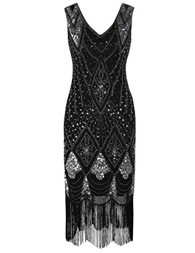 PrettyGuide Women 1920s Dress Gatsby Cocktail Sequin Art Deco Flapper Dress L Black Silver ()