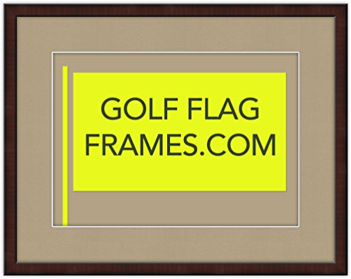 - Golf Flag Frames Custom Size Mahogany Color Shadowbox Moulding 7607 (Flag 13X19, tan mat)