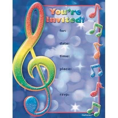 Music Note Invitations 8ct ()
