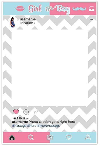 Gender Reveal Baby Shower Selfie Frame Social Media Photo Frame Cutout DIY Photo Booth Prop Poster (Cut Out Frame Photo)