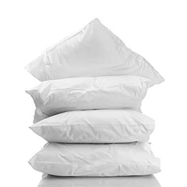 (4-Pack) Five-Star Hotel Sleeping Pillows 100% Hypoallergenic White Synthetic with High Thread Count 100% Cotton Fabric Shell. Made in USA. QUEEN SIZE.