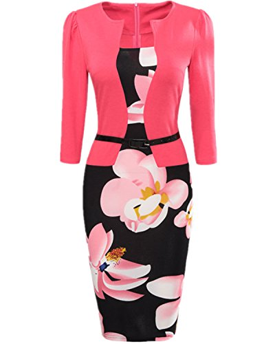 BubbleKiss Women's Floral Print Colorblock Wear To Work Business Party Bodycon Fake Two-Piece Dress Colorblock 2 Piece Dress