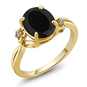 2.53 Ct Oval Black Onyx White Diamond 14K Yellow Gold Ring (Ring Size 8)
