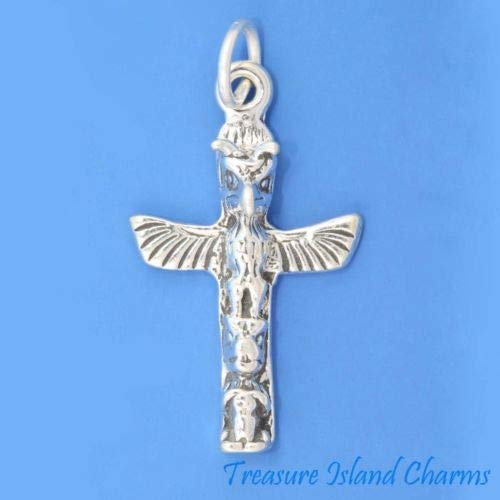 Native American Totem Pole 3D 925 Solid Sterling Silver Charm Pendant USA Made Crafting Key Chain Bracelet Necklace Jewelry Accessories Pendants ()