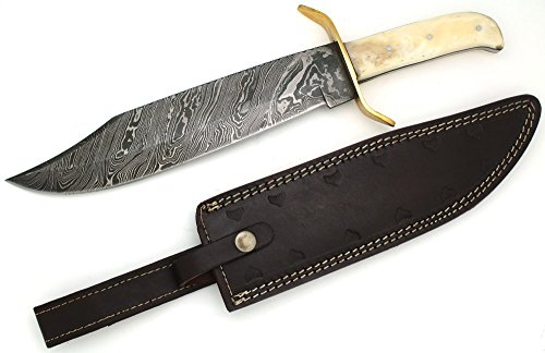 Wild Turkey Handmade Damascus Steel Collection Full Tang Bone Handle Bowie Knife w/ Leather Sheath Outdoors Hunting Camping