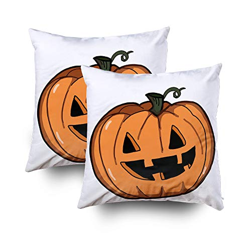 GROOTEY Decorative Cotton Square Set of 2 Pillow Case Covers with Zippered Closing for Home Sofa Decor Size 20X20Inch Costom Pillowcse Throw Cover Cushion,Halloween Pumpkin Illustration Drawing]()