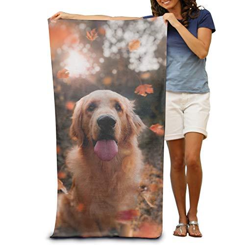 Dongi Adult Golden Retriever Customize Microfiber Beach Towel -Ultra Soft Super Water Absorbent Multi-Purpose Beach Throw Towel Oversized 32