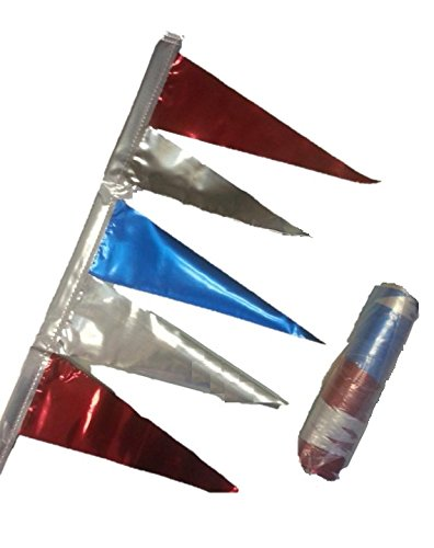 Car Dealer Antenna Pennants Metallic Red, Blue and Silver (Set of 12) ()