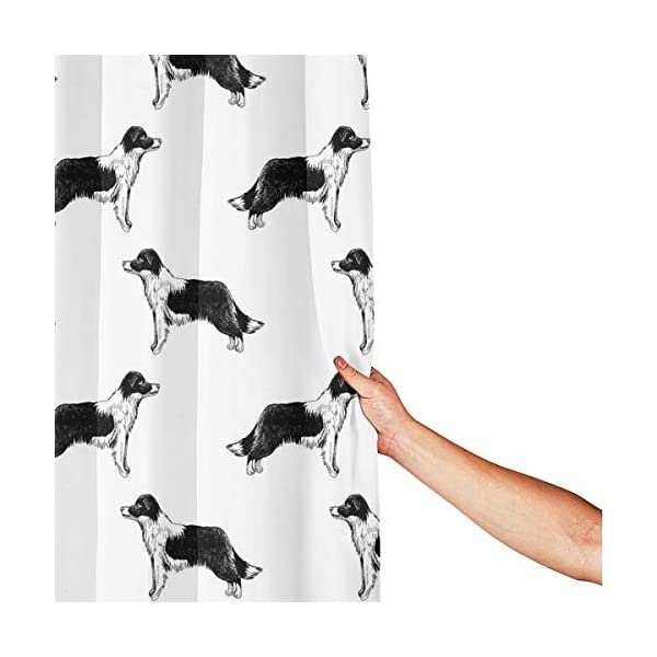 Border Collies Bathroom Shower Curtain Shower Printing Curtains Durable Polyester Bath Curtain Waterproof Bathroom Curtain with 7-12 Hooks 60x72 in 3