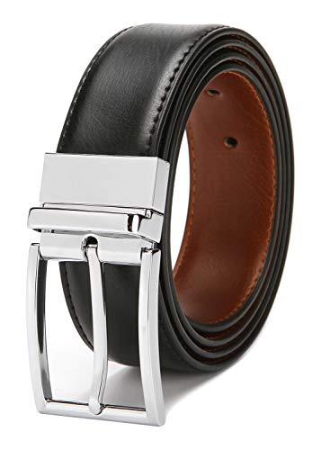 Reversible Belts for Men Genuine Leather Men's Dress Belt Black 30 32 34 Belt Brown 2 (Penguin Belted Belt)
