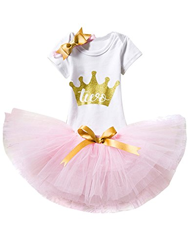 (TTYAOVO Baby Girl 1st Birthday 3pcs Sets with Golden Bow Headband & Romper & Skirts Size 2 Years)