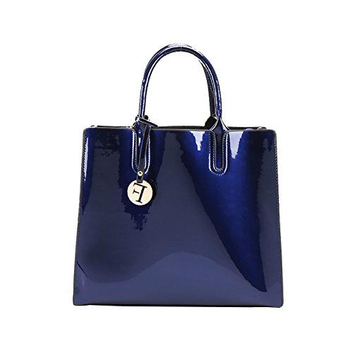Coolives F Charm Square Glossy Borsa a mano con Tracolla Lunga Donna Nero Blu Reale