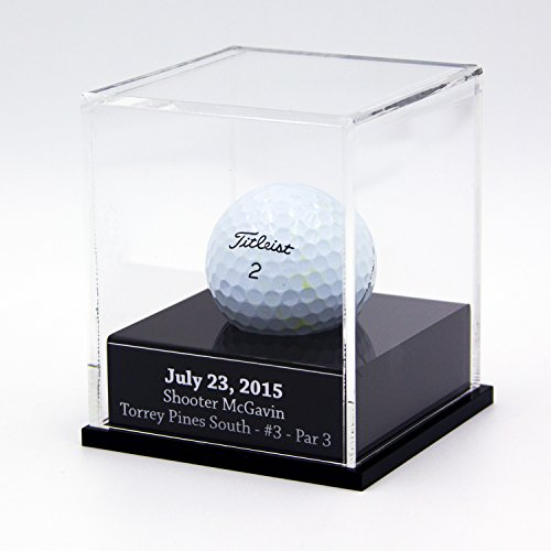 FantasyJocks Clear Acrylic Golfball Display Case - Free Engraving - One Ball Display Case