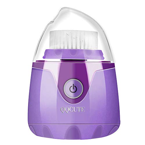 (Sonic Facial Cleansing Brush, QQcute Waterproof Face Brush, Smart Timer, Wireless Charging Face Scrubber with 3 Modes and 2 Brush Heads for Deep Cleansing, Exfoliating Galvanic Machines, Purple)