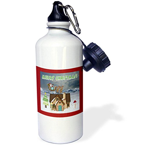 3dRose Beverly Turner Christmas Design - Santa, Sleigh, Reindeer, House, Trees, Decorations, Merry Christmas - 21 oz Sports Water Bottle (wb_272705_1) - Mouse Sleigh