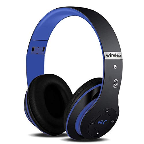 6S Wireless Headphones Over Ear,Noise Cancelling Foldable Wireless Stereo Headsets Earbuds with Built-in Mic, Micro SD/TF, FM for iPhone/Samsung/iPad/PC (Black & Blue)