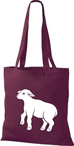 Shirtstown - Bolso de tela de algodón para mujer Rojo - borgoña