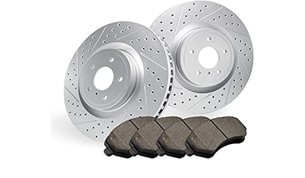 Stirling 2004 For Cadillac Escalade ESV Rear Cross Drilled Slotted and Anti Rust Coated Disc Brake Rotors and Ceramic Brake Pads