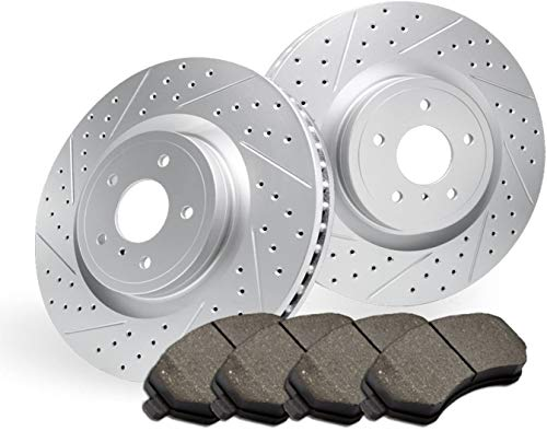 Stirling - 2017 for Mitsubishi Mirage Front Premium Quality Cross Drilled and Slotted Coated Disc Brake Rotors And Ceramic Brake Pads - (For Both Left and Right) One Year Warranty