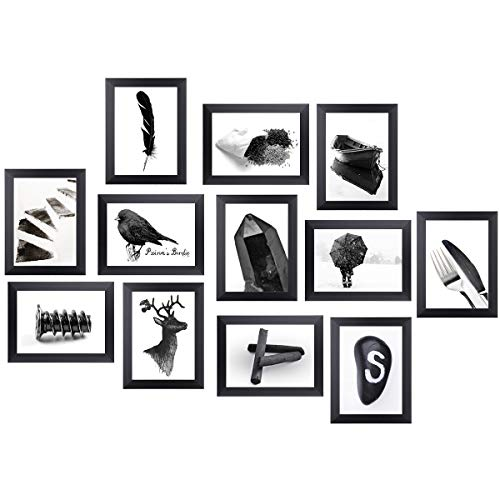 Homemaxs 5x7 Picture Frames Collage Black Photo Frames Wall Gallery Kit for Wall or Tabletop, 12 Pack