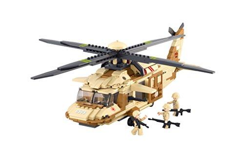 Sluban Building and Construction Blocks M38-B0509 UH-60L Blackhawk Helicopter Building Block Construction Set (434 (Uh 60l Blackhawk)