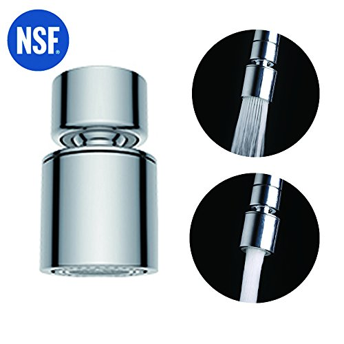 Waternymph NSF Certified Dual-function 2-Flow Kitchen Sink Aerator, 360-Degree Swivel Faucet Aerator Dual Sprayer, with Gasket Faucet Replacement Part - 55/64 Inch-27UNS Female Thread - Chrome- Swivel by Waternymph
