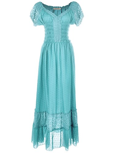 Anna-Kaci Peasant Maiden Boho Inspired Cap Sleeve Lace Trim Maxi Dress, Light Blue, Medium -