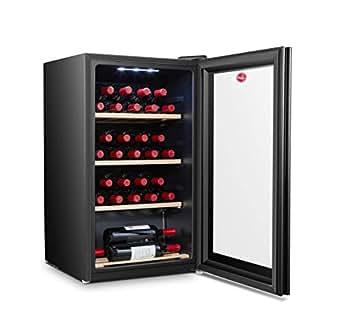 Hoover 150 Liters, 30 Bottles Free standing Wine cooler, Black - HWC30B-X