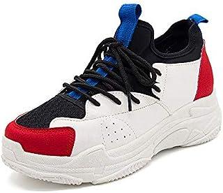 ZHZNVX Chaussures Femme PU (Polyuréthane) Printemps et été Confort Sneakers Chaussures de Marche Chaussures Creepers Bout Rond Rouge/Vert Clair