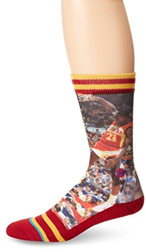 (Stance Men's Dominique Wilkins Atlanta Hawks Crew Socks, Red, Sock Size:10-13/Shoe Size:)