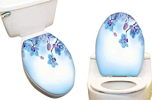 - Toilet seat Sticker Orchids Asian Natural Flowers Reflections on Water for Spring Calming Art Blue and Toilet Seat Sticker Vinyl Toilet Lid Decal Decor 11