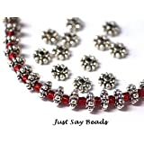 70Pcs Tibetan Silver Daisy Spacer Beads 6Mm - Findings (Ref:8B51) by Riga