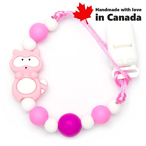 Pacifier Clip - Raccoon (Grey)/High Teething Silicone Beads, Handmade in Canada Teething Toys Market
