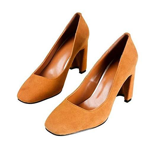ZHZNVX Zapatos de Mujer Suede Spring Bomba básica Tacones Chunky Heel Black/Rainbow / Camel Camel