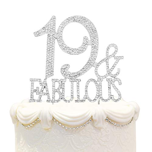Hatcher lee Fabulous and 19 Cake Topper 19 Years Birthday 19th Wedding Anniversary Silver Crystal Rhinestone Party Decoration]()