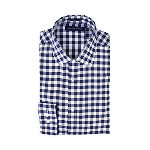 Tommy Hilfiger Men's Dress Shirts Non Iron Slim Fit Solid Spread Collar -