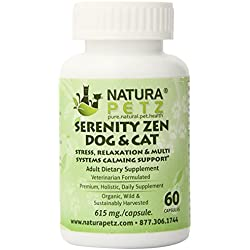 Natura Petz Serenity Zen Dog and Cat Stress, Relaxation and Multi-Systems Calming Support for Adult Pets, 60 Capsules, 615mg Per Capsule