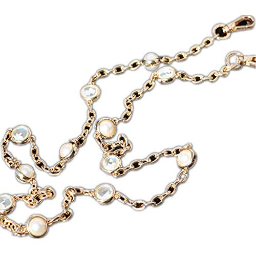 (Many Small Crystal + Pearl Pendant in Chain Shape Golden Chain Strap Replacement Purse Chain Strap for Shoulder Bag/Handbag Bag/Wallet (Length 110 cm))