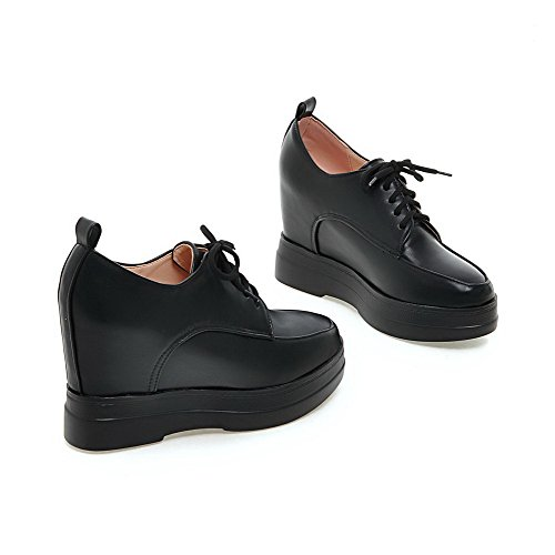 Pompe scarpe Nere Donne Cunei Morbido Amoonyfashion Con Solidi Delle Talloni Rotonda Lacci Chiusa Materiale Punta 76aqO