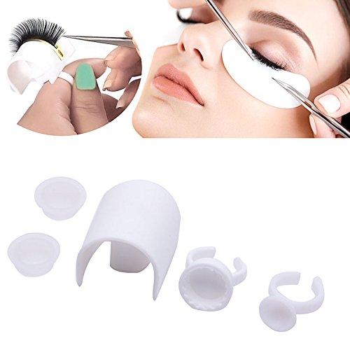 Coobbar 5pcs/Set Eyelash Strip Holder Pallet Glue Ring Cups Set Volume 3D Eye Lash Extensions Kit Makeup Tools ()
