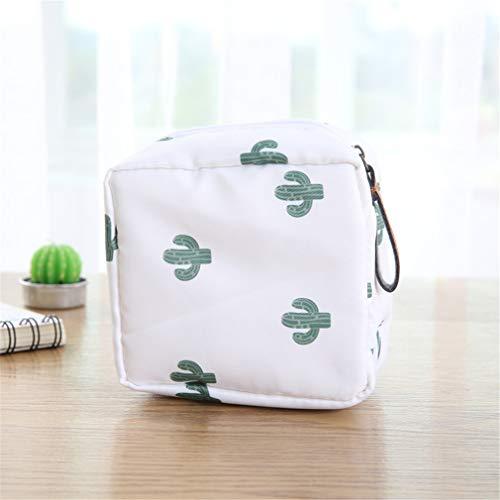 (1Pc Cute Sanitary Napkins Package Organizer Hygiene Cotton Bag Striped Mini Cosmetic Travel Storage Sanitary Bags White)