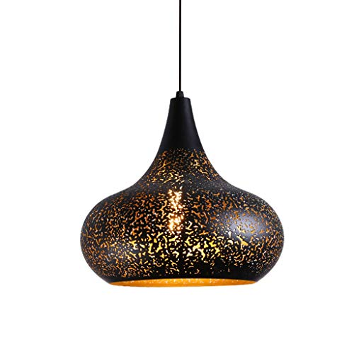 Chandelier Industrial Ceiling Light Pierced Pendant Light with Water Drop Shape in Handmade Lacquer Finish with Black Metal Shape, Pendant Lighting Fixture for Restaurant, Bar, Kitchen Island, Foyer,