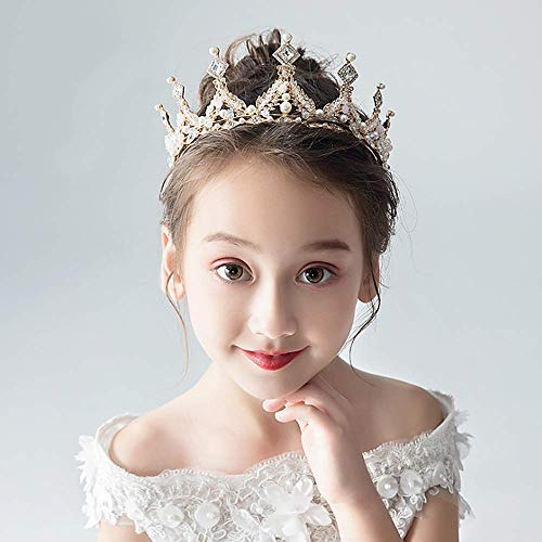 Campsis Princess Pearl Rhinestone Crown Bridal Hair Accessories for Girl and Women Wedding Tiaras for Flower Girl and Bridal.
