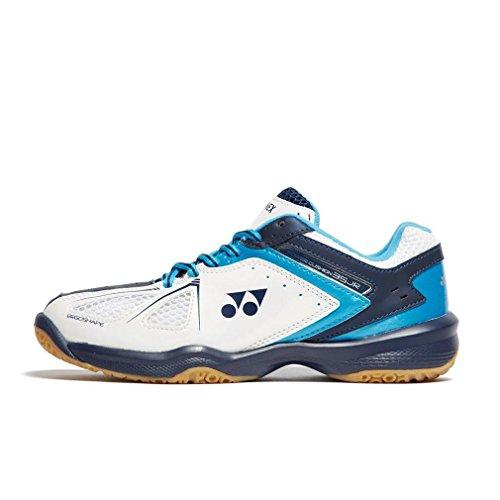 (Yonex SHB 35 Junior 2018 New White Orange Badminton Tennis Indoor Court Sports Shoes (Junior 6 (24.0cm), White/Sky Blue))