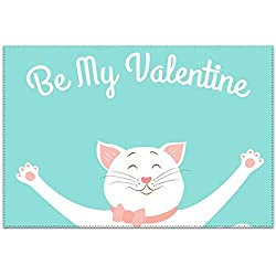 HHNYL Placemats Set of 6 Heat-Resistant Valentine Day Card Template Cute Smiling Cat Placemat for Dining Table Stain Resistant Table Mats Easy to Clean