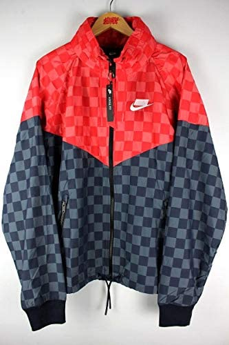 """/""""CHECKER"""" LOOSE-FIT WINDRUNNER JACKET (ウインドブレーカー) / red×black"""